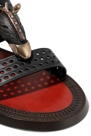 VALENTINO GARAVANI Embellished perforated leather sandals