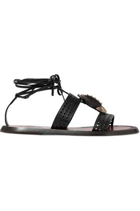 VALENTINO GARAVANI Embellished perforated leather sandals