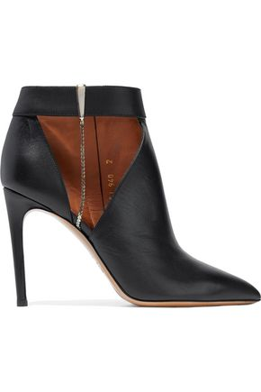 VALENTINO GARAVANI Cutout chain-trimmed leather ankle boots