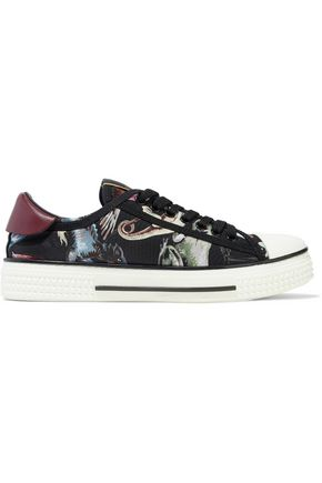 VALENTINO GARAVANI Leather-trimmed printed twill sneakers