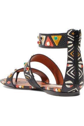 VALENTINO GARAVANI Studded printed textured-leather sandals