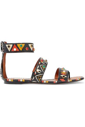 VALENTINO Studded printed textured-leather sandals