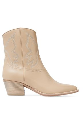 VALENTINO Texan embroidered leather ankle boots