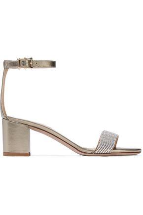 VALENTINO Crystal-embellished metallic leather sandals