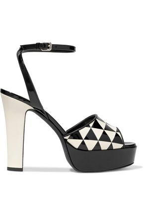 VALENTINO GARAVANI Printed patent-leather platform sandals