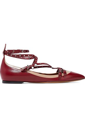 VALENTINO Eyelet-embellished two-tone leather point-toe flats