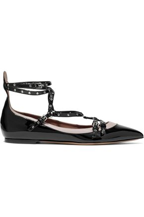 VALENTINO Love Latch eyelet-embellished two-tone patent-leather flats