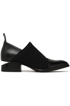 ALEXANDER WANG Kori leather and stretch-twill loafers
