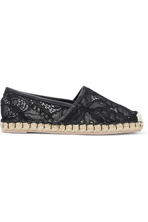 Leather Trimmed Corded Lace Espadrilles by Valentino Garavani