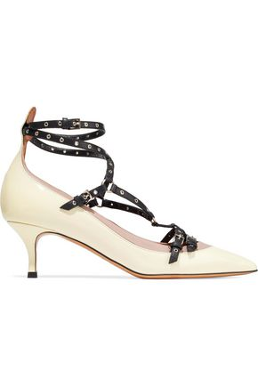 VALENTINO Color-block eyelet-embellished leather pumps