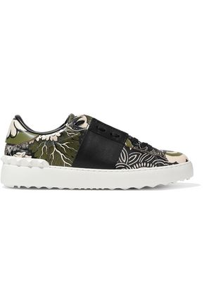 VALENTINO Open paneled printed leather sneakers