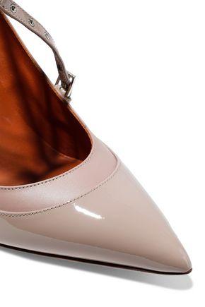 VALENTINO GARAVANI Love Latch eyelet-embellished matte and patent-leather pumps