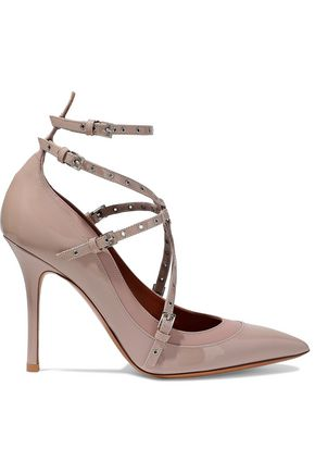 VALENTINO Love Latch eyelet-embellished matte and patent-leather pumps