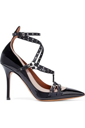 VALENTINO GARAVANI Love Latch eyelet-embellished two-tone patent-leather pumps