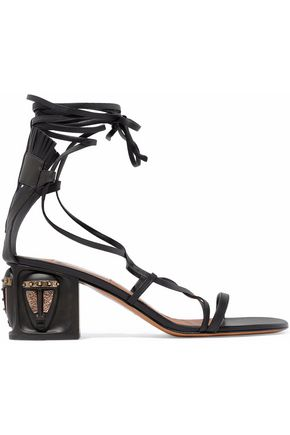 VALENTINO GARAVANI Lace-up embellished leather sandals