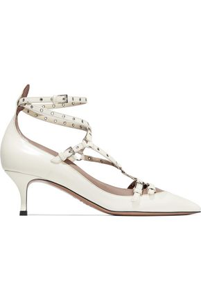 Love Latch Eyelet Embellished Leather Pumps by Valentino Garavani