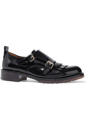 VALENTINO Buckled fringed patent-leather brogues