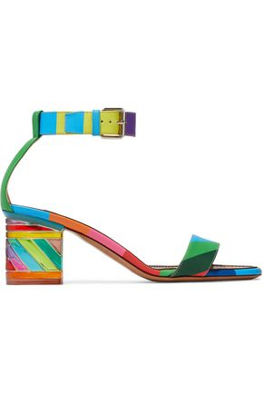 VALENTINO GARAVANI Embellished color-block leather sandals