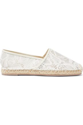 VALENTINO GARAVANI Leather-trimmed corded lace espadrilles