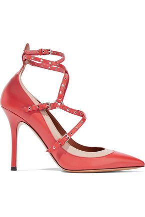 VALENTINO Love Latch eyelet-embellished two-tone leather pumps
