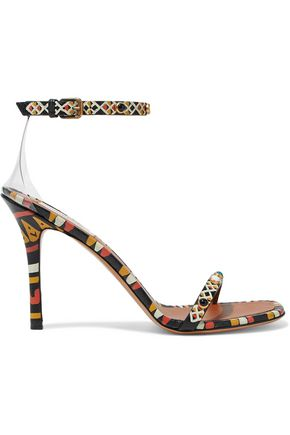 VALENTINO PVC-trimmed embellished printed leather sandals