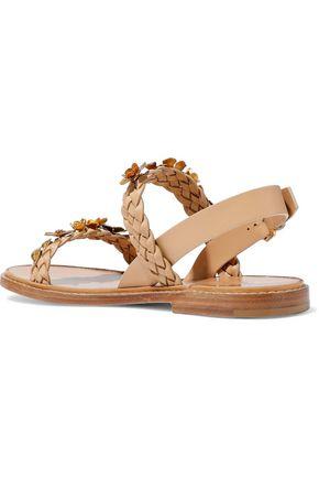 VALENTINO GARAVANI Metallic floral-appliquéd leather slingback sandals