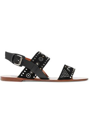 VALENTINO Microstud leather and suede slingback sandals