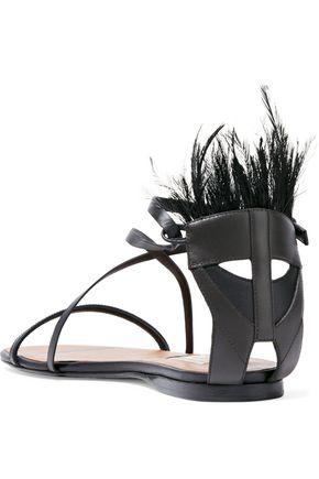 VALENTINO GARAVANI Feather-embellished leather sandals