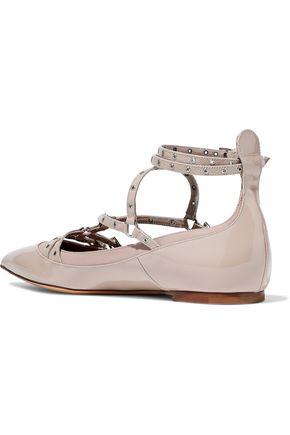 VALENTINO GARAVANI Eyelet-embellished smooth and patent-leather point-toe flats