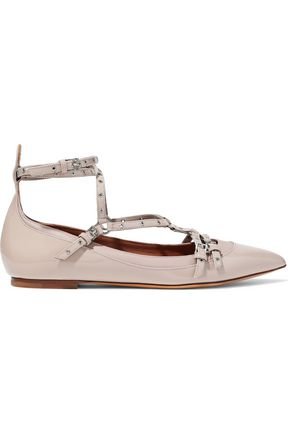 VALENTINO GARAVANI Eyelet-embellished smooth and patent-leather point-toe flats
