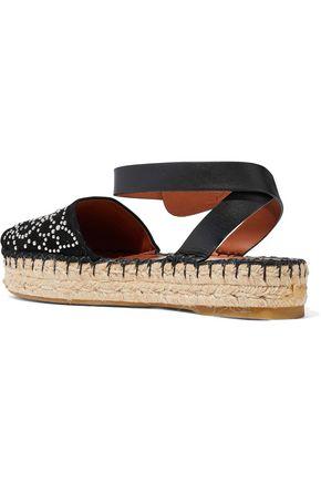 VALENTINO GARAVANI Leather-trimmed studded suede espadrille sandals
