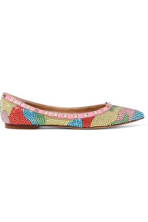 VALENTINO Rockstud crystal-embellished printed point-toe flats