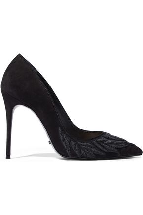 SCHUTZ Metallic embroidered nubuck pumps