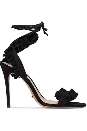 SCHUTZ Ruffled lace-up suede sandals