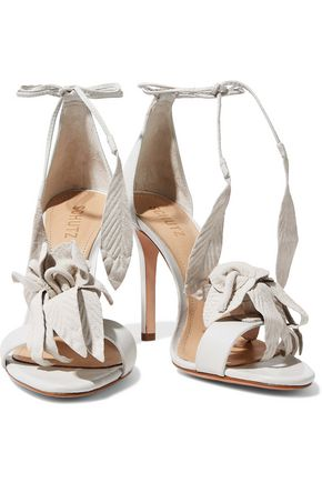 SCHUTZ Embossed nubuck and leather sandals