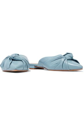 SCHUTZ Knotted leather slippers