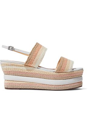 SCHUTZ Leather-trimmed woven platform sandals