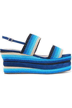 SCHUTZ Striped woven platform slingback sandals
