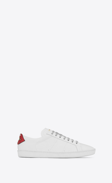 SAINT LAURENT Low Sneakers Woman signature court sl/01 lips sneaker in optic white leather and red and blue metallic snakeskin a_V4