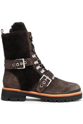 SIGERSON MORRISON Shearling-paneled leather ankle boots