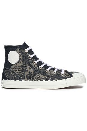 CHLOÉ Studded printed denim high-top sneakers