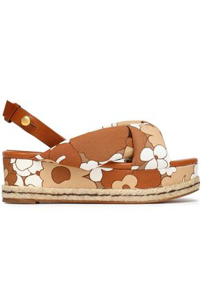 CHLOÉ Floral-print leather and canvas platform sandals