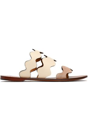 CHLOÉ Lauren scalloped leather and suede slides