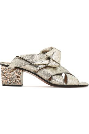 CHLOÉ Nellie embellished metallic cracked-leather mules