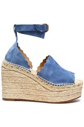 CHLOÉ Lauren suede wedge espadrille sandals