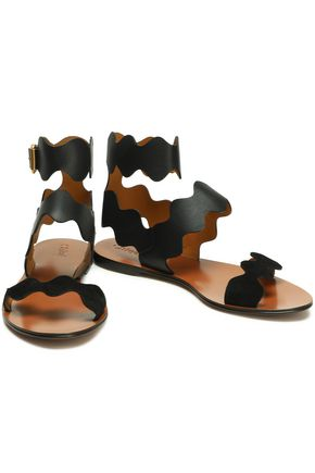 CHLOÉ Lauren scalloped leather sandals