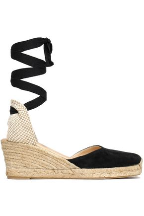 IRIS & INK Peyton woven-trimmed suede wedge espadrilles
