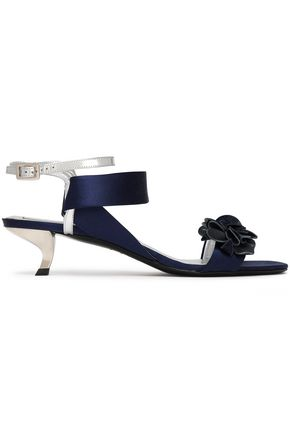 ROGER VIVIER Floral-appliquéd satin and leather sandals