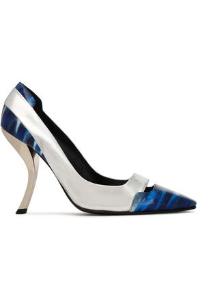 ROGER VIVIER Cutout printed patent and metallic leather pumps