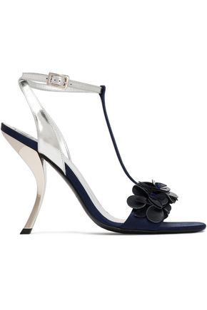 ROGER VIVIER Floral-appliquéd metallic leather sandals